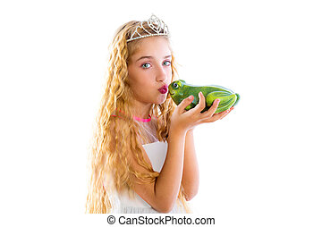 blond princess girl kissing a frog green toad like a story...