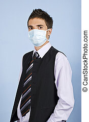 Young business man with protective mask