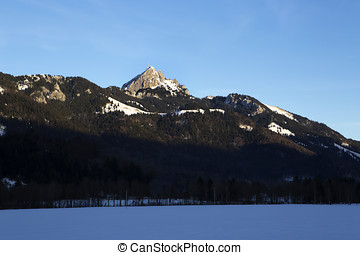 Bavarian mountain Wendelstein in winter - Landscape of the...