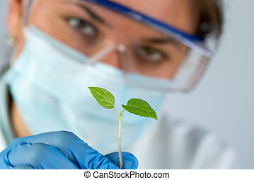 scientist and green plant - female scientist wearing blue...