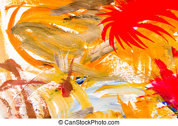 Abstract oil painting - Oil paint and brush drawing colorful...