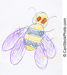 Bee drawn in pencil - Drawn with colored pencils bee...