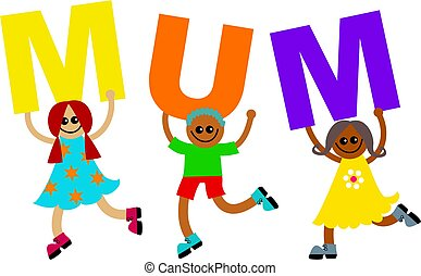 mum - happy and diverse little children holding up letters...