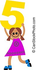 number five kid - Happy little ethnic girl holding a giant...