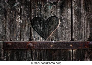 Coração, madeira, esculpido