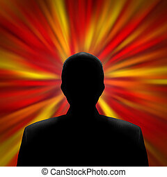 Man in a Red Vortex - Black silhouette of a mysterious man...