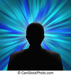 Silhouette of a mysterious man in front of a blue vortex -...