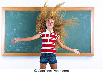 funny student girl flipping long hair at school