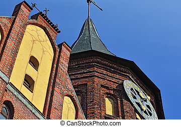 Tower of Konigsberg Cathedral closeup. Kaliningrad, Russia -...