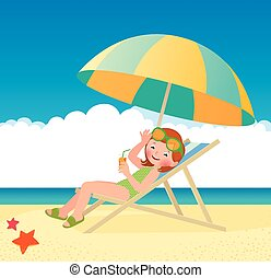 Girl sunbathes lying on a sun loung