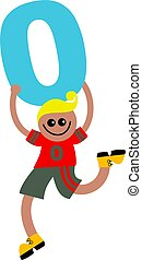 number zero kid - Happy little ethnic boy holding a giant...