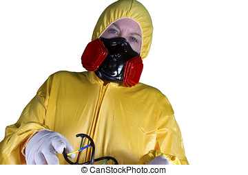 HazMat Worker - Woman dressed in HazMat suit with gas mask...