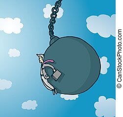 Businessman pushed by giant wrecking ball - Cartoon...