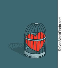 Heart or love trapped in cage - Cartoon illustration of...