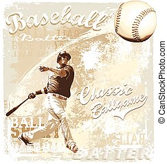 batting baseball - baseball sport vector for T-shirt printed...