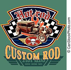 vintage hot rod garage - hot rod vintage car vector for...