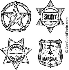 Sheriff stars. - Vintage sheriff and marshal badges set...