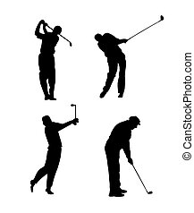 Silhouettes of a golfer black and white - Silhouettes of a...