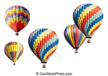 Um, jogo, de, quentes, ar, balões, ligado, branca,