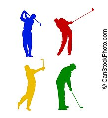 Colored silhouettes of a golfer