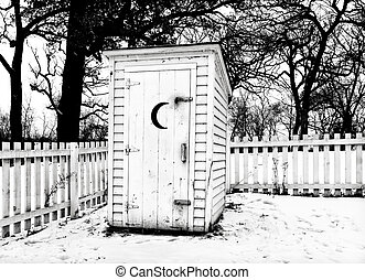 Vintage Rural Outhouse in Black in White in Winter - Vintage...