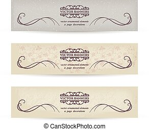 Vector Vintage Banners - Vintage banners set with textures...
