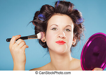 woman applying rouge blush makeup - Cosmetic beauty...