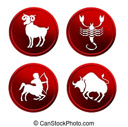 red zodiac signs - set 2 - set of red zodiac signs - set 2