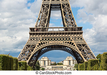 Eiffel tower in Paris - The Eiffel Tower in Paris, France in...