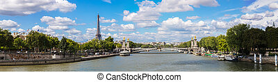 Eiffel Tower and bridge Alexandre III - The Eiffel Tower and...