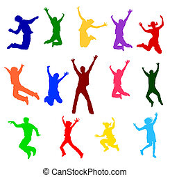 colorful jumping people - a illustration of colorful jumping...
