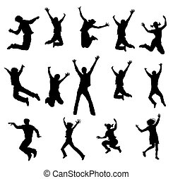 jumping people - a illustration of black jumping people...