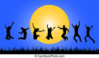 jumping people in sunset