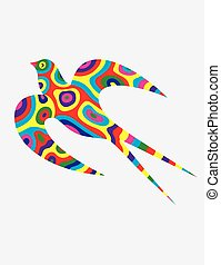Swallow bird abstract colorfully, art vector illustration