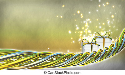 Birthday theme illustration with gifts and sparks - 3D