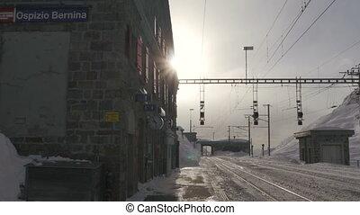 mountain train station bernina - 01/01/2015/bernina...
