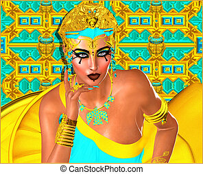 Egyptian woman beautiful cosmetics - Egyptian woman with...