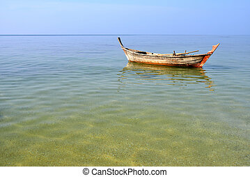 longtail boat - Traditional thai long tail boat on sea day...