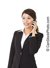 happy  businesswoman talking on the mobile  phone