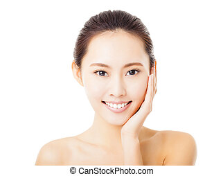 closeup smiling young woman face isolated on white