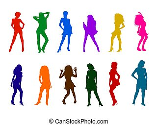 Colorful sexy woman silhouettes