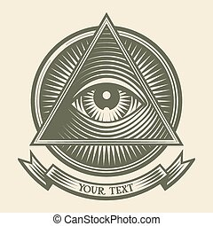 All seeing eye - Vector human eye in engraved style Eps8...