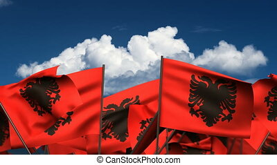 Waving Albanian Flags (seamless & alpha channel)