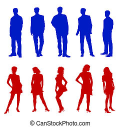 Young adults silhouettes red blue