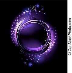 purple round banner - purple, glowing , round banner ,...