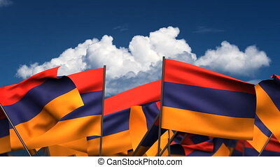Waving Armenian Flags seamless alpha channel