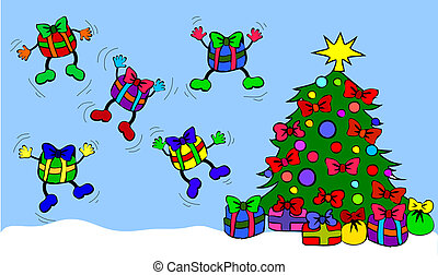 Jumping presents with christmas tree
