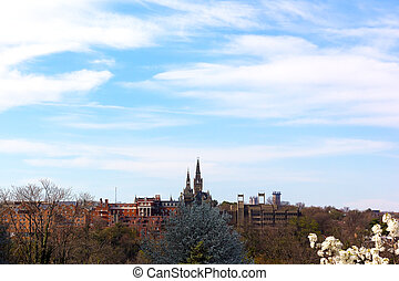 Georgetown University under blue sky in spring University...