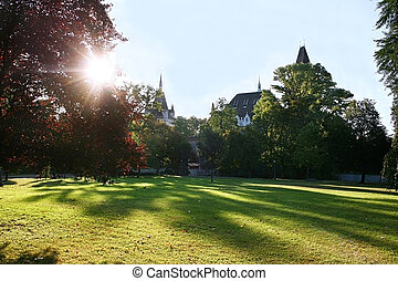 Vajdahunyad Castle - Park near the Vajdahunyad Castle,...