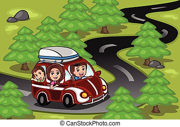 Family on a road trip - A vector illustration of happy...